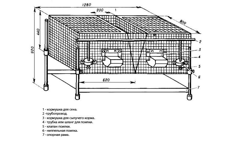 Габаритный чертеж клетки для кроликов